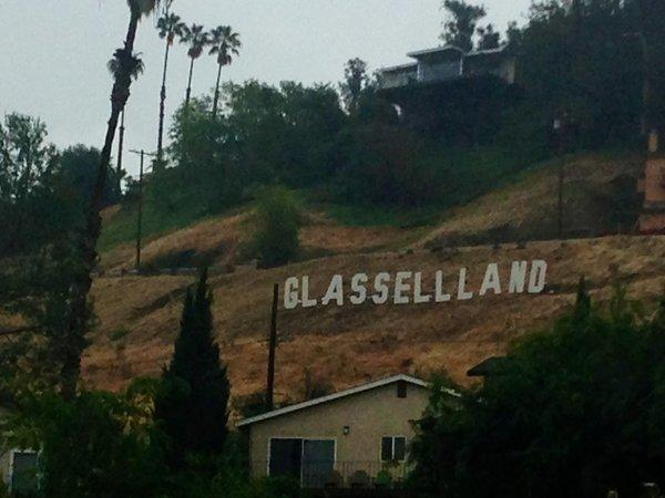 Sign on the hill above the Glassell Park Recreation Center.