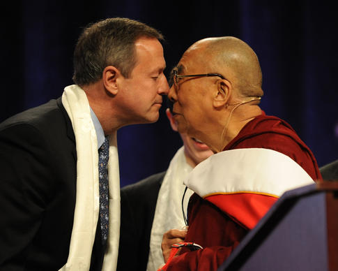 His Holiness, the 14th  Dalai Lama rubbed noses with Gov. Martin O'Malley after the Dalai Lama spoke at the Comcast Center.