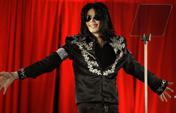 "Michael Jackson in 2009 announcing his ""This Is It"" concerts in London."
