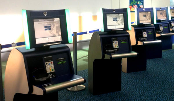 Passport screening kiosks at Vancouver International Airport today that are similar to those that are to be used at O'Hare.