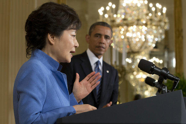 South Korea President Park Geun-hye speaks during a news conference with President Obama in the White House on Tuesday.