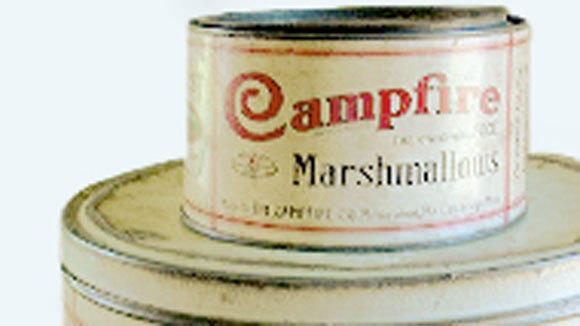 A vintage can of Campfire Marshmallows from Doumak Inc.