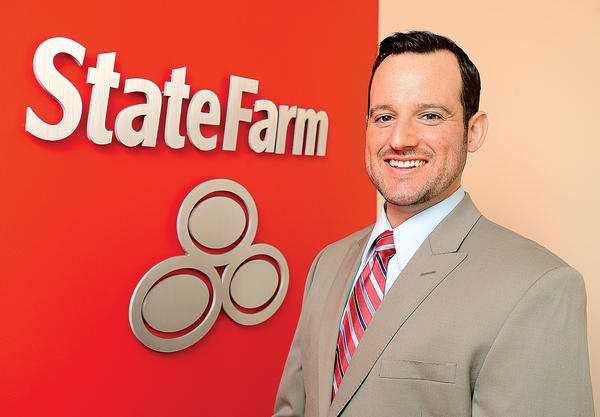 Dan Hall at his State Farm Insurance office on Virginia Avenue in Hagerstown.