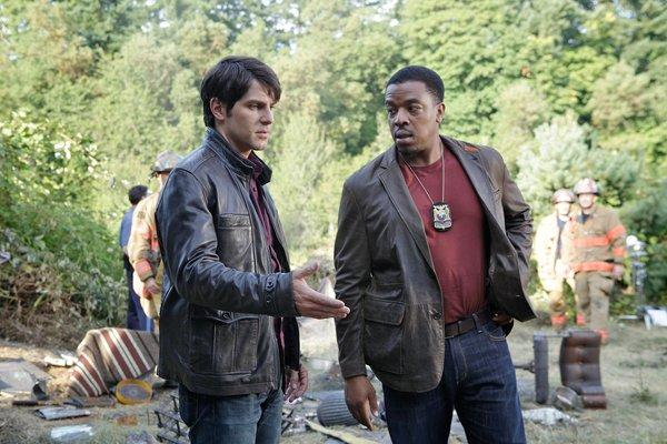 "David Giuntoli, left, stars as Nick Burkhardt and Russell Hornsby as Hank Griffin in the NBC series ""Grimm,"" which films in Oregon."