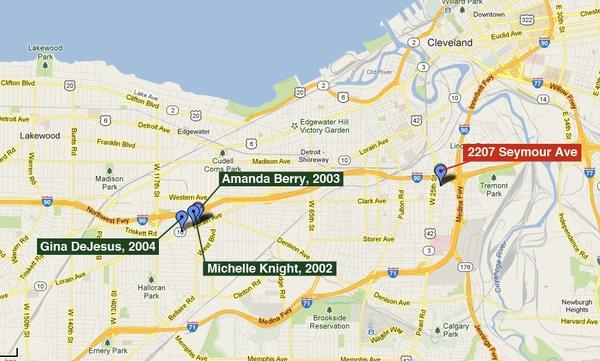 A map showing the last known locations of Amanda Berry, Michelle Knight and Gina DeJesus and the nearby home at 2207 Seymour Avenue where the three women were later discovered. All three girls were last reported seen on or very near Lorain Avenue in west Cleveland.