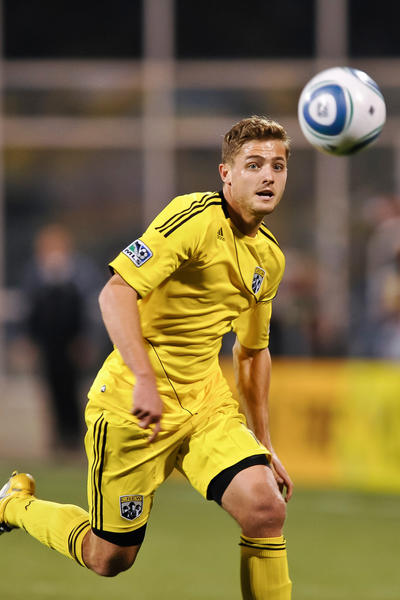 Robbie Rogers, formerly of the Columbus Crew, chases down the ball against the Vancouver Whitecaps FC on April 30, 2011 at Crew Stadium in Columbus, Ohio. (Photo by Jamie Sabau/Getty Images)