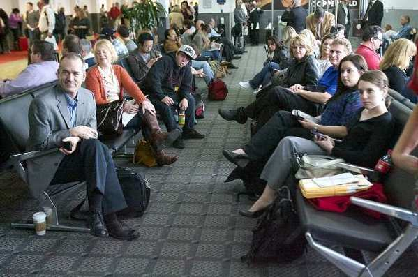 Travelers wait for their flight at Bob Hope Airport. For the first time in more than three years, the number of passengers at Bob Hope Airport increased in March.