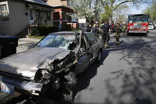 Five people were injured when five vehicles collided Tuesday morning in the 5100 block of West Addison Street.
