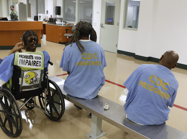 Inmates await treatment at the new mental health treatment unit at the California Medical Facility in Vacaville, Calif.