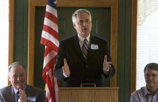 California Rep. Tom McClintock (R-Rocklin) is shown speaking at a campaign event in Placerville, when he was first running for Congress in 2008.