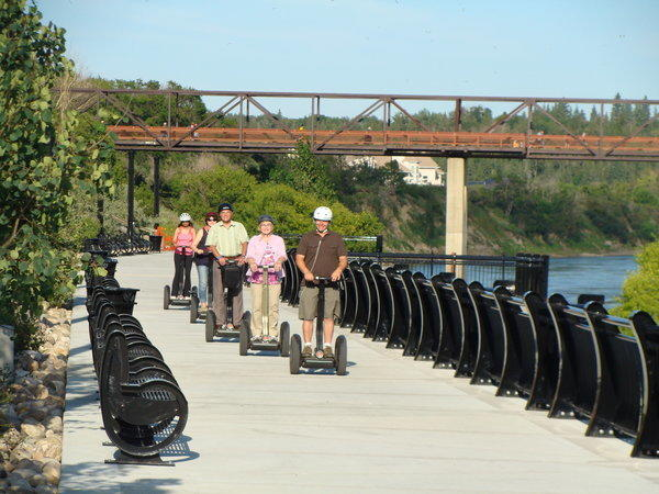 Edmontonians enjoy a Segway ride through the North Saskatchewan River Valley.