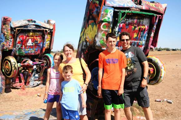 Eric and Alice Litt with the rest of the Litt clan from suburban Chicago at the Cadillac Ranch in Amarillo, Texas.