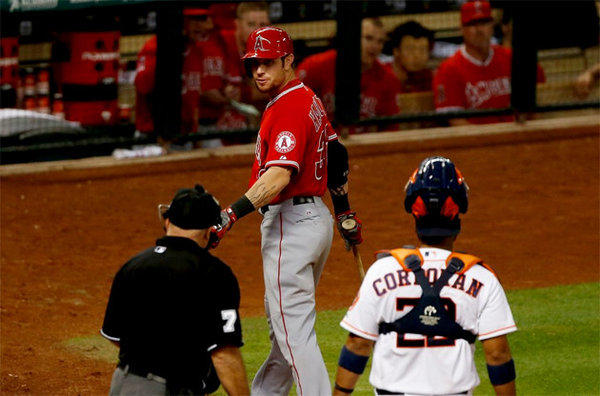 Angels' Josh Hamilton argues a called third strike with umpire Brian O'Nora during Tuesday's game against the Houston Astros.