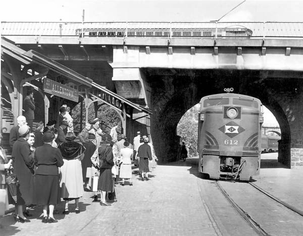 Passengers wait for a Lehigh Valley Railroad train in Allentown in 1951, when train service linking the Lehigh Valley with Philadelphia and New York thrived.