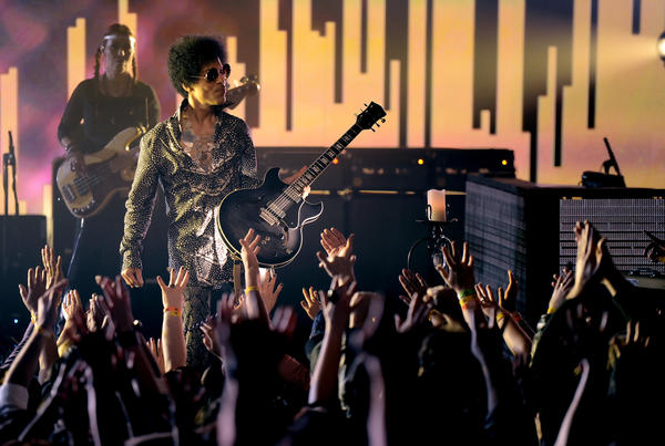 Prince and his band 3rd Eye Girl perform at the Vogue Theatre in Vancouver, Canada.
