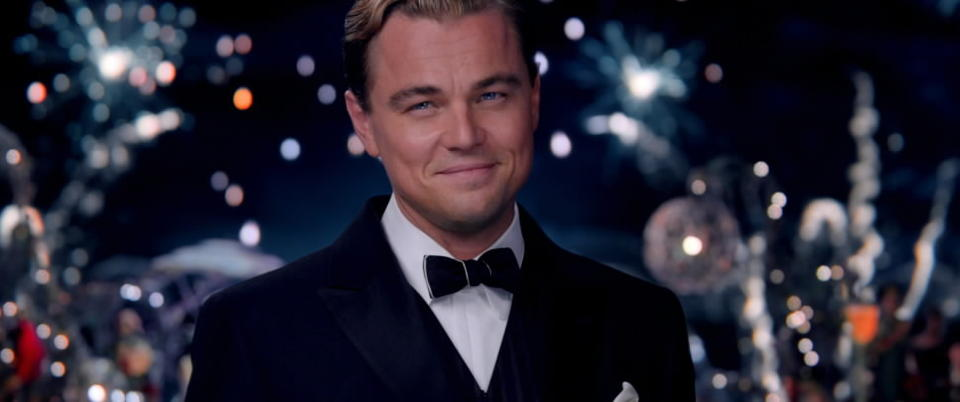"Leonardo DiCaprio as Jay Gatsby in ""The Great Gatsby."""