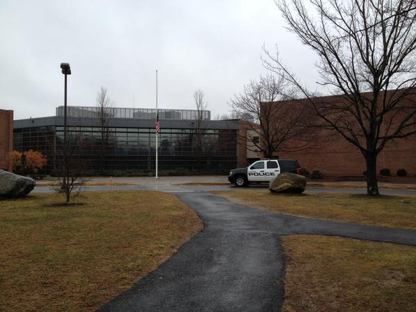 Police did a drug sweep of Canton High School and Canton Middle School on May 8. In this picture taken in December, a town police cruiser is parked in front of the building on Simonds Avenue where the two schools are located.