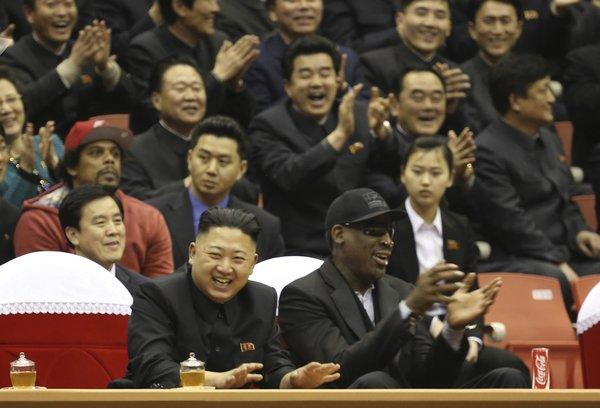 North Korean leader Kim Jong Un and former NBA star Dennis Rodman watch North Korean and U.S. teams play in an exhibition basketball game in Pyongyang, North Korea, back in February.