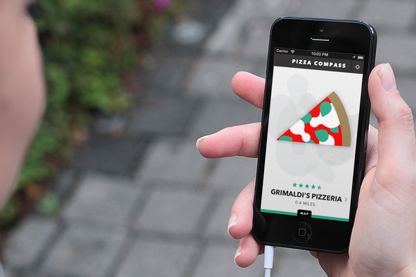 Pizza Compass, an app released Tuesday, helps users find the nearest pizza joint.