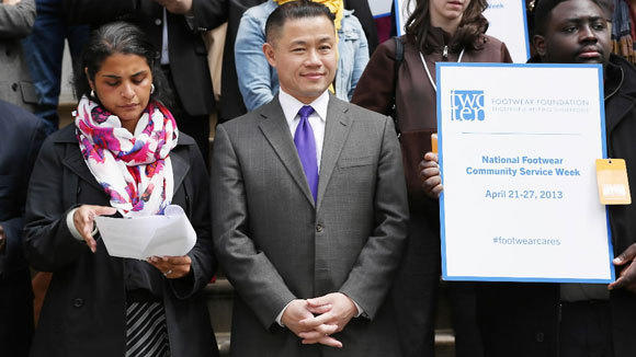 New York City Comptroller John Liu attends attends the 2013 Footwear Cares Community Service Week and National Volunteer Week announcement at City Hall last month.