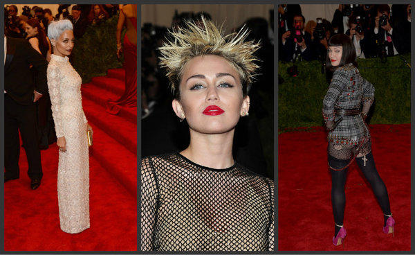 "From left, Nicole Richie, Miley Cyrus and Madonna on the red carpet at the ""Punk: Chaos to Couture"" Costume Institute gala at the Metropolitan Museum of Art in New York City."