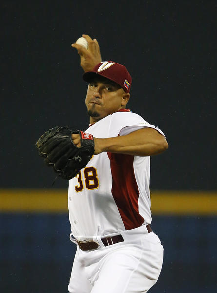 Carlos Zambrano of Venezuela pitches against Puerto Rico during the first round of the World Baseball Classic in March.