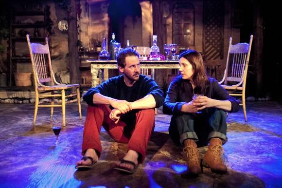 Joe McCauley as August and Georgann Charuhas as Liza at Signal Ensemble Theatre.