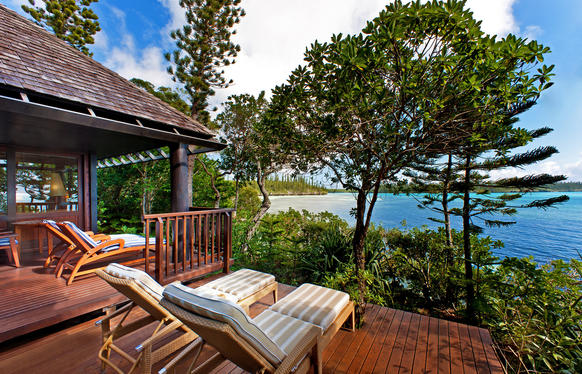 The view  is lovely from a deck at Le Meridien, Isle of Pines, in the South Pacific archipelago of New Caledonia.