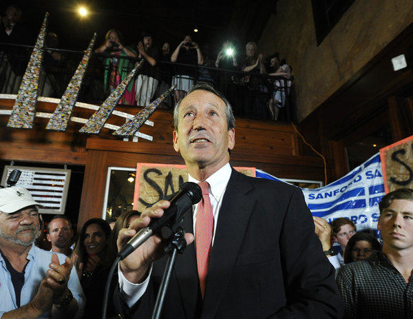 Mark Sanford gives his victory speech after wining back his old congressional seat in South Carolina on Tuesday.