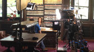 Cindy Crawford, the model and businesswoman, sat with a television crew at the Connecticut State Library on Wednesday, apparently being interviewed for a program that traces the genealogy of celebrities.