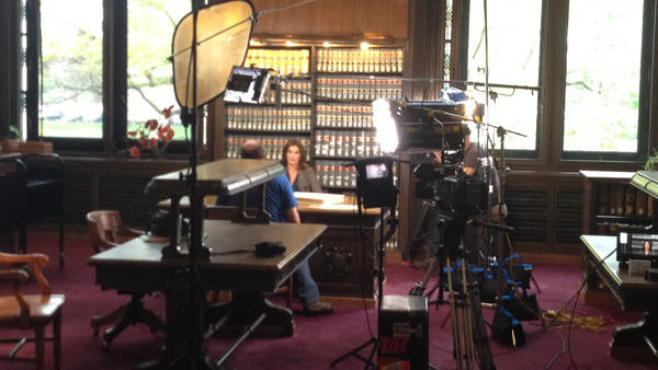 Supermodel Cindy Crawford was filmed in the state library in Hartford on Wednesday morning for a documentary about genealogy.