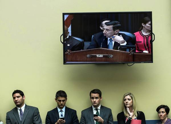 Rep. Darrell Issa (R-Vista) is seen on screen during a hearing of the House Committee on Oversight and Government Reform in Washington. The panel is investigating the events and response related to the attack on the U.S. diplomatic mission in Benghazi, Libya.