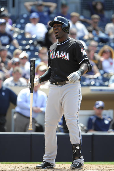 SAN DIEGO, CA - MAY 8: Marcell Ozuna #48 of the Miami Marlins reacts after a called strike during the ninth at Petco Park on May 8, 2013 in San Diego, California. The Padres won 1-0. (Photo by Denis Poroy/Getty Images) ORG XMIT: 163493508