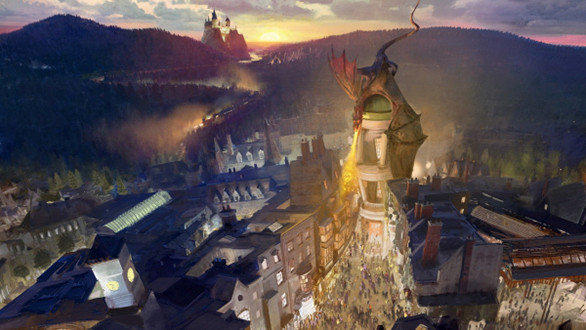 Concept art of Diagon Alley at Universal Studios Florida.