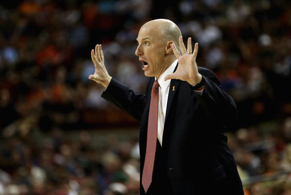 Illinois coach John Groce yells to his team during an NCAA tournament game.