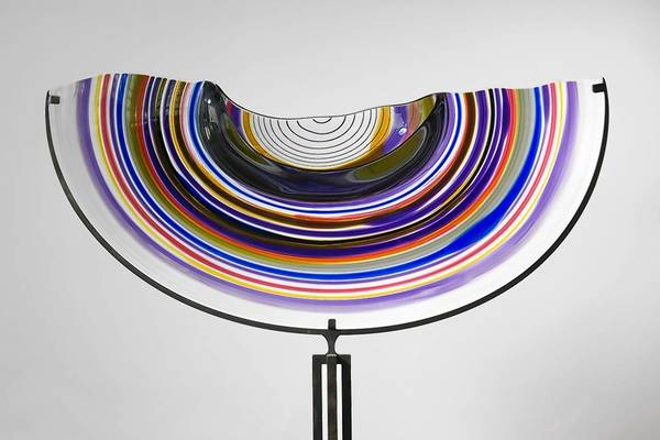 "Lino Tagliapietra's ""Half Saturno,"" 2000, blown glass on iron stand."