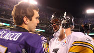 "On Wednesday, Baltimore Sun blogger and reporter Matt Vensel wrote about how it is now a close call when <a href=""http://www.baltimoresun.com/sports/baltimore-sports-blog/bal-sports-blitz-joe-flacco-ben-roethlisberger-debate-20130508,0,7726021.story"">debating which quarterback is the AFC North's best</a>: the Ravens' Joe Flacco or the Pittsburgh Steelers' Ben Roethlisberger."