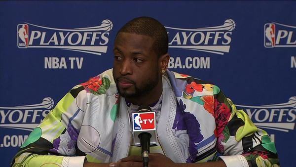 Dwyane Wade sports a colorful jacket at the postgame news conference Wednesday.