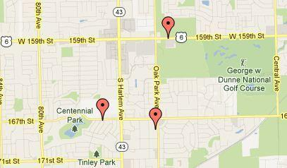 A map of three recent air-conditioning unit thefts in Tinley Park.