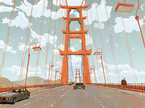 This concept art for Big Hero 6 showcases the Bridge to San Fransokyo.