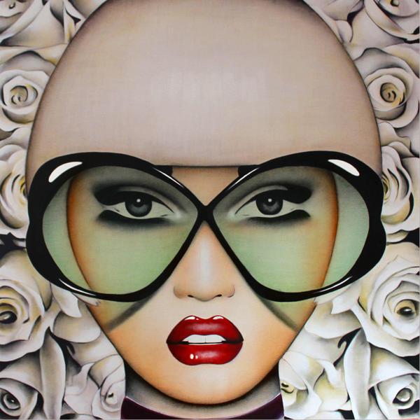 In Bloom, an acrylic on panel by Anja Van Herle, is on display at the JoAnne Artman Gallery.