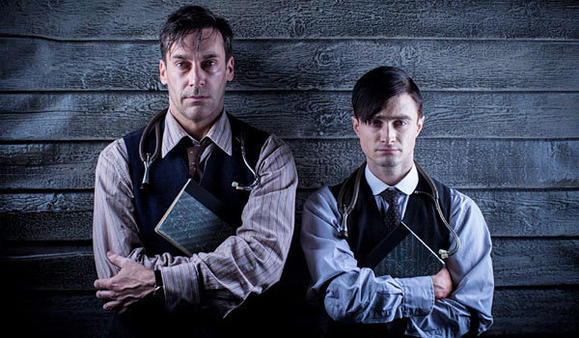 "Jon Hamm, left, and Daniel Radcliffe star in ""A Young Doctor's Notebook."""