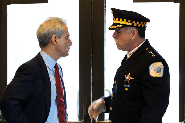 Chicago Mayor Rahm Emanuel and Police Superintendent Garry McCarthy talk before the Chicago Police Department detective promotion ceremony at Navy Pier earlier this year.