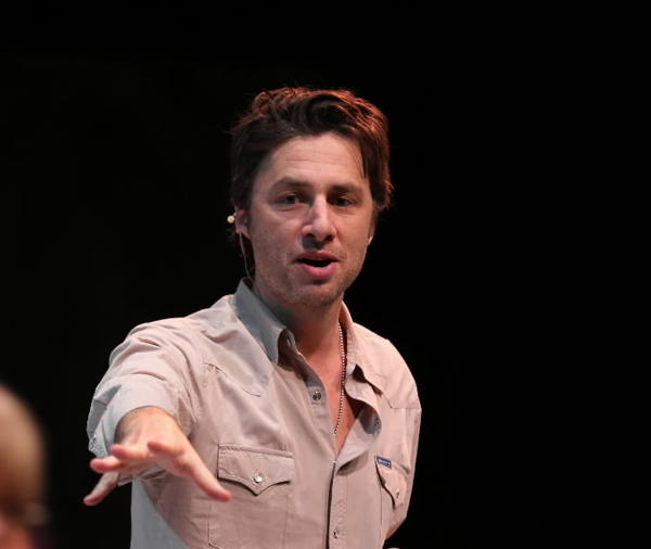Northwestern alum, actor and director Zach Braff leads an acting class in a workshop at the Mussetter-Struble Theater on NU's Evanston campus; walking by is Mary Poole of NU's theatre dept.