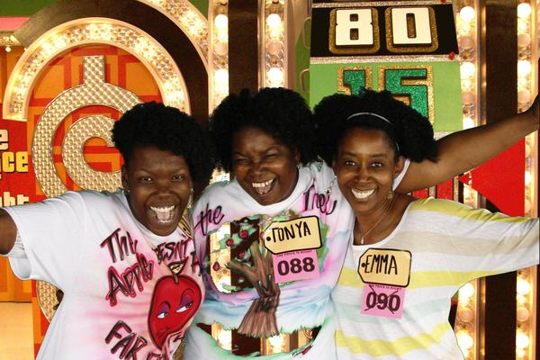 "From left to right, JoLanda Mosley, Tonya Mosley and Tonya's sister Emma Cook, on the set of ""The Price is Right."" Tonya and JoLanda, from Hampton, will be on the Mother's Day edition of the show, which airs Friday."