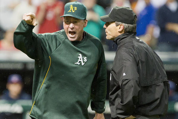 Oakland manager Bob Melvin yells after being ejected from the game by umpire Angel Hernandez for arguing a call during the ninth inning.