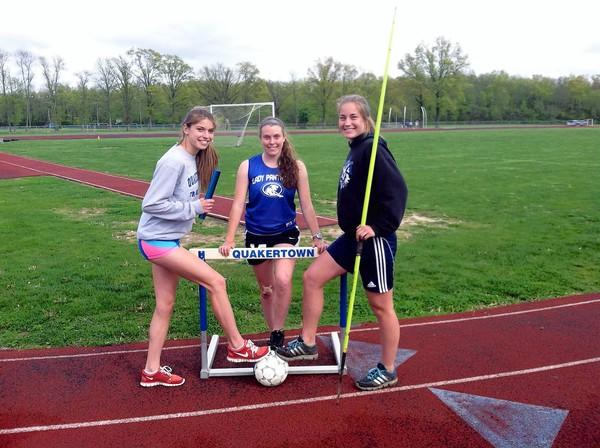 From left: Quakertown's Linzi Wolfe, Shannon Gibat and Shelly Cowan.