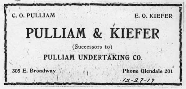 Pulliam Undertaking Co. at 305 E Broadway was one of the earliest mortuaries in town. In 1919, Emil Kiefer joined the business and later it became Kiefer and Eyerick and moved to Harvard Street.