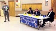 The three men running for judge in the 39th District of the Court of Common Pleas faced questioning Thursday night during a forum preceding the primary election.