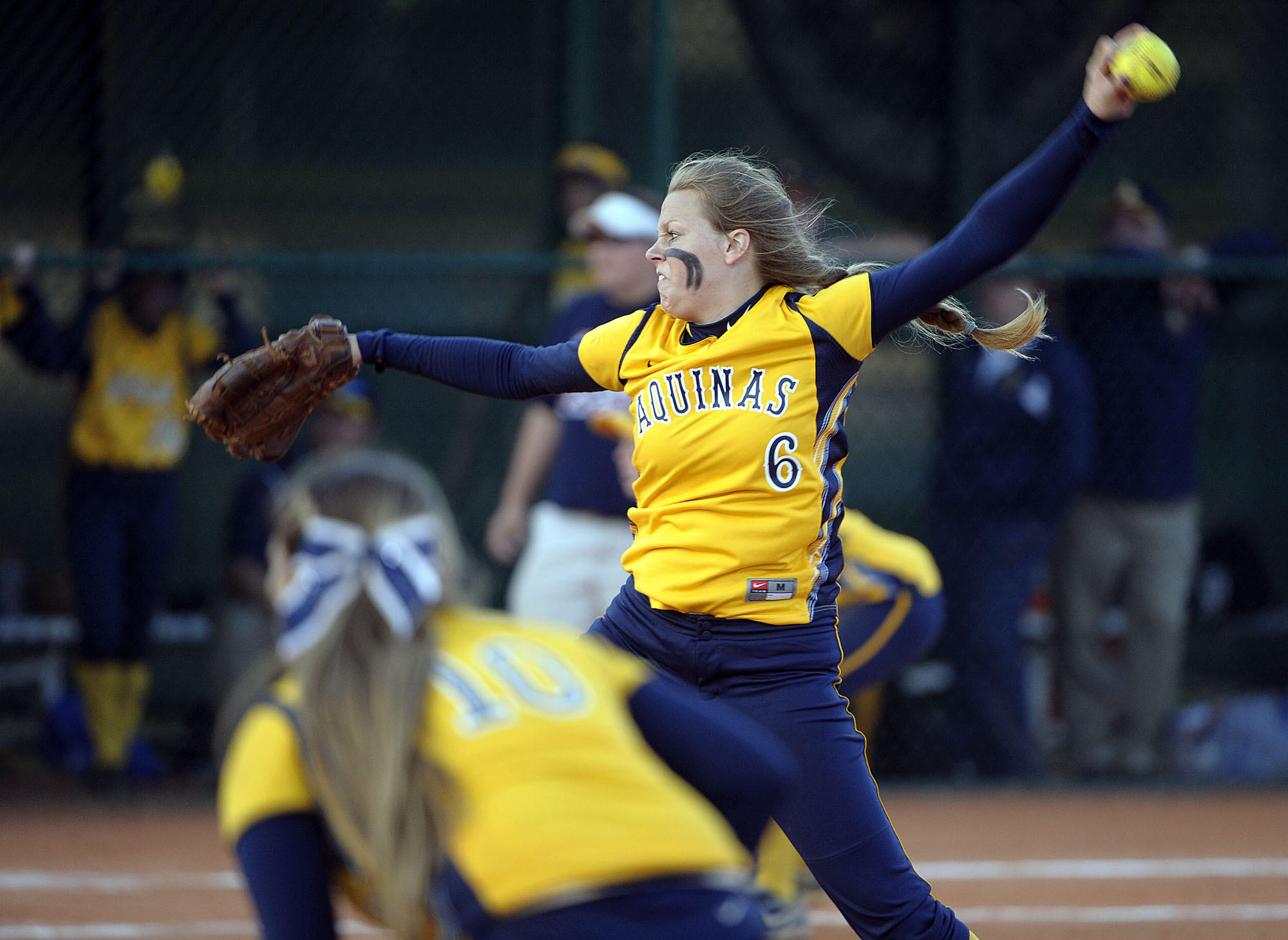St. Thomas Aquinas pitcher Meghan King delivers a pitch.